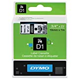 DYMO 45800 D1 High-Performance Polyester Removable Label Tape, 3/4'' x 23 ft, Black on Clear