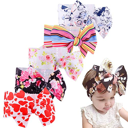 Baby Nylon Knotted Headbands Girls Head Wraps Newborn Infant Toddler Hairbands and Bows (Multicoloured ASPS5530)