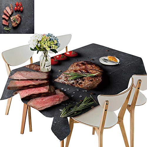UHOO2018 Spillproof Fabric Tablecloth Grille Slice Beef Steak Tomatoes on Stone Table top View Square/Rectangle Washable Polyester,54 x110inch ()