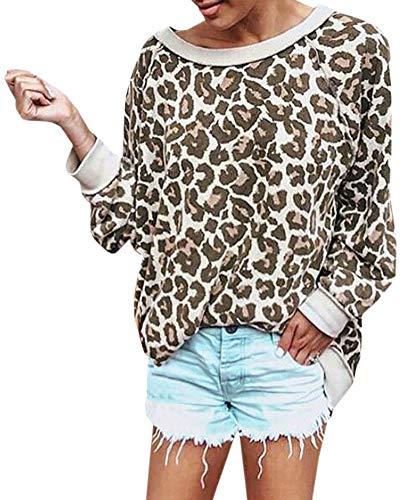 Sweatshirt Print Jersey - PINUPART Women's Loose Long Sleeve Shirt Leopard Tops Pullover Sweatshirt XLarge Beige