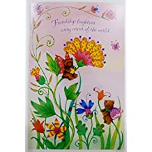 Wonderful Happy Birthday Wishes Friend Greeting Card – Floral Butterfly Bears