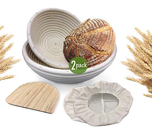 9 inch Round Banneton Bread Proofing Basket Set of 2 | Natural Rattan Cane Brotform Sourdough Bread Proving Basket Set with Bamboo Dough Scraper & Proofing Cloth Liner | Food-Safe - Banneton Basket