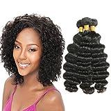 Cheap Loose Deep Wave Brazilian Virgin Remy Human Hair 3 Bundles 8A Unprocessed Loose Deep Wave Wet and Wavy Human Hair Extensions Natural Black (24 26 28)