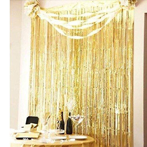 YJYdada Shimmer Door Curtain & Fringe Garlands Foil Curtains (91X182cm) (Gold) - Silver Foil Butterfly Bead