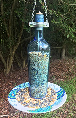 Up-cycled, Light Blue Bottle Glass Bird feeder