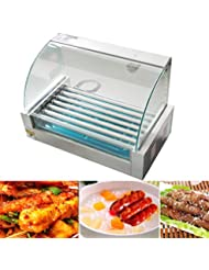 Zinnor Commercial Hot Dog Roller Grill Cooker Machine Electric 18 Hot Dog 7 Roller Grill Cooker