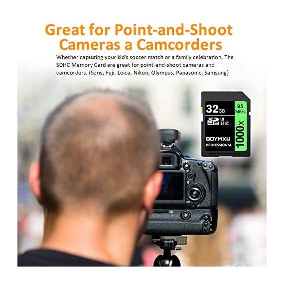 32GB SD Card, BOYMXU Professional 1000 x Class 10 SDHC UHS-I U3 Memory Card Compatible Computer Cameras and Camcorders, SD Memory Card Up to 95MB/s, Green/Black 7 SD High Speed Card Class 10, Up to 95MB/sec speed for the ultimate transfer rates. With growing video capabilities, you need high-performance cards you can rely on, and high-capacity options to keep you shooting longer without changing cards. BOYMXU's Professional 1000x SDHC UHS-I Cards makes that easy, providing you with large capacity options up to 32GB. Whether you are using a mid-range DSLR or HD camcorder, you will be able to leverage the latest photo and video features available for shooting high-quality images and stunning 1080p full-HD and 4K video.