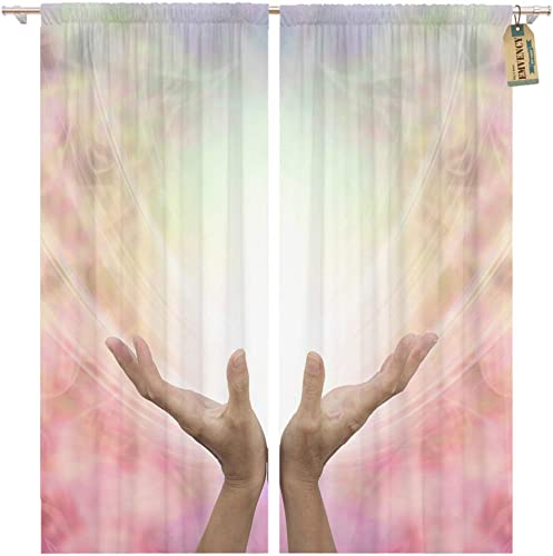 Emvency Window Curtains 2 Panels Rod Pocket Drapes Satin Polyester Blend Angelic Healing Energy Female Hands Outstretched Sensing Beautiful Pastel Living Bedroom Drapes Set 104 x 96 Inches