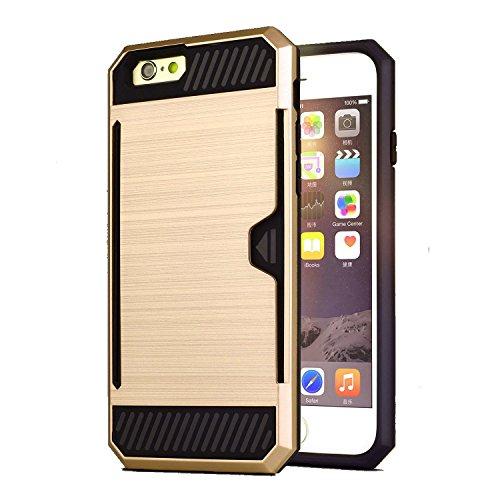 iPhone 6 6s 4.7 inch Premium Back Case [Bracevor] *Shock proof, Anti slip, Card slot, Shimmer Protective grip back Cover – Golden