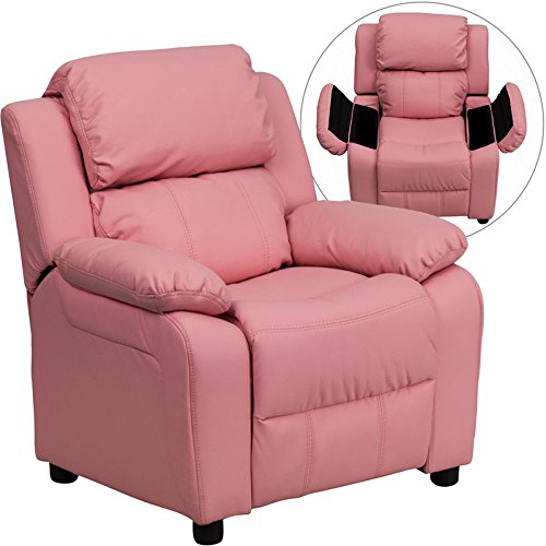 Eight24hours Deluxe Padded Contemporary Pink Vinyl Kids Recliner with