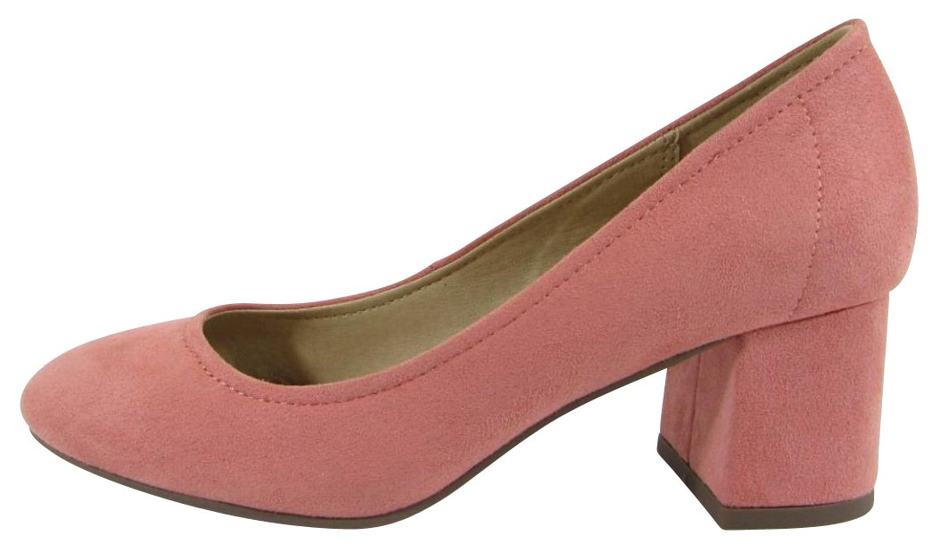 Cambridge Select Women's Closed Round Toe Slip-On Chunky Block Mid Heel Pump B07B9GW74T 7.5 B(M) US|Salmon Imsu