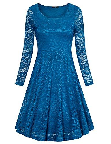 long sleeve a line cocktail dress - 4