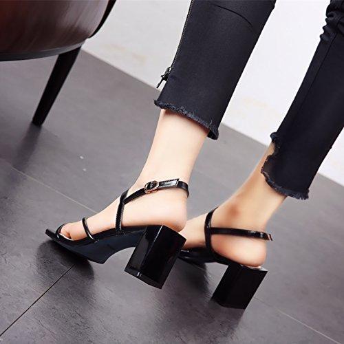 a Onorevoli toe toe square moda sandali b temperamento YMFIE scarpe tacco comoda estate alta moda tacco OXAdxtRq