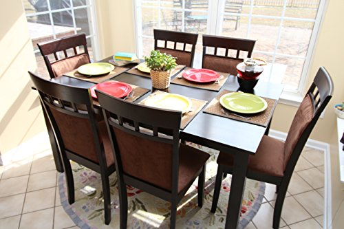 7 pc Espresso Brown 6 Person Table and Chairs Brown Dining D