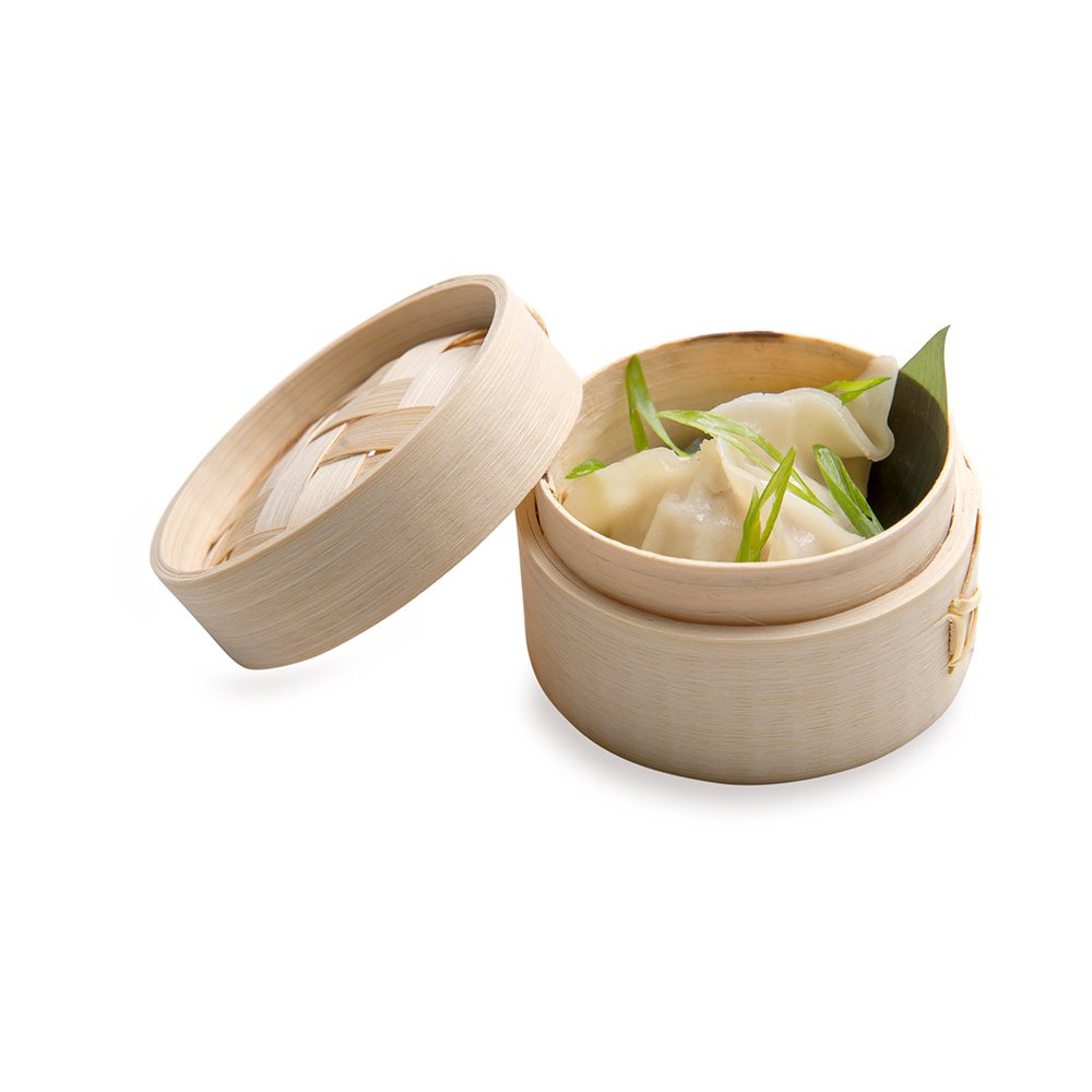 Bamboo Steamer - Mini Bamboo Steamer, Dim Sum Steamer - 3 Inches - Eco-Friendly, Biodegradable - 2 oz - 100ct Box - Restaurantware