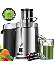 Müller Ultra Sapcentrifugaalpers, 1100 W, eenvoudig te reinigen sappers, centrifugaalpers, brede 7,6 cm voederhengel voor hele fruit, groenten, druppelvrij, voor groenten en fruit, BPA-vrij, groot, zilver
