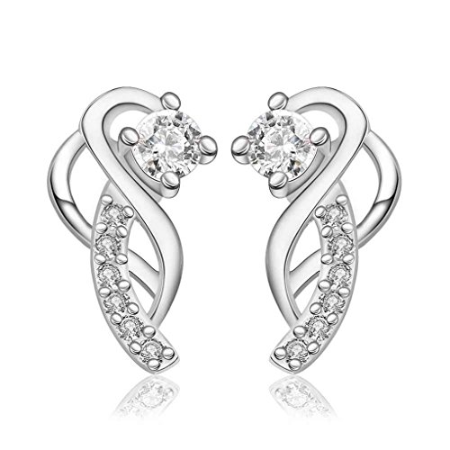fonk: Gorgeous silver plated earings Moon hook white gem stud orecchini 100% Hand Madeball HBE023