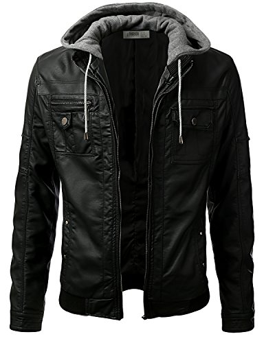 Mens Hooded Leather (iDarbi Men's Premium Pu Faux Leather Moto Biker Jacket with Detachable Hood BLACK M)