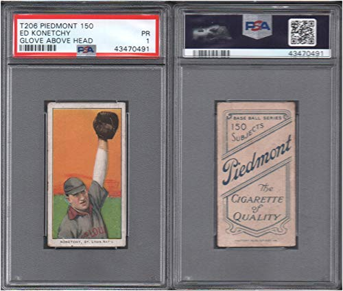 1909 t206 tobacco (baseball) card#255 psa ed konetchy (glove above head (psa) of the St. Louis Cardinals Grade Fair/Poor
