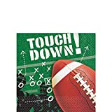 Amscan Football Frenzy Birthday Party Beverage Napkins Tableware, Paper, 5'' x 5'', Pack of 100