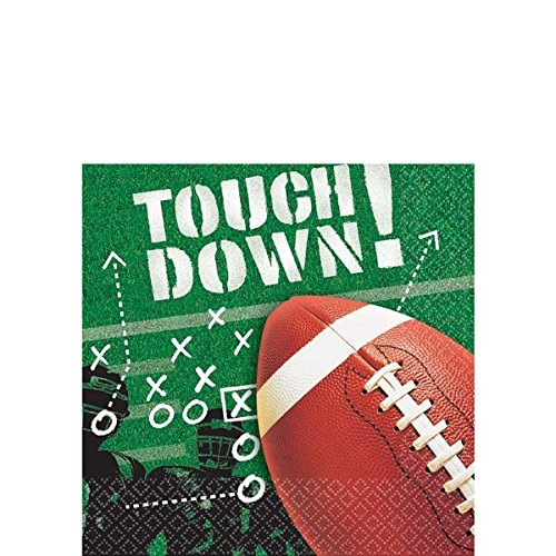 "Nice Amscan Football Frenzy Birthday Party Beverage Napkins Tableware, Paper, 5"" x 5"", Pack of 100 free shipping"