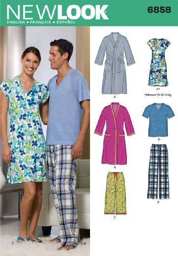 Simplicity Creative Group, Inc New Look Sewing Pattern 6858 Miss/Men Sleepwear, Size A