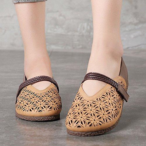 Costura del Las la Boca a Señoras Verano Poco Profunda Mano Cuero Zapatos de Marrón de de Hueco Sandalias Hechos de xqOw87YTtn