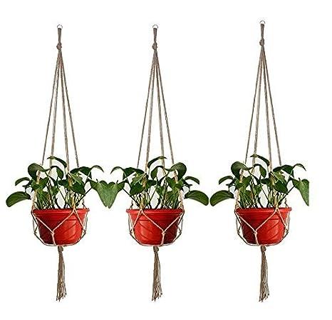 kuwan planta percha cuerda de algodón cesta con llavero 35 ...