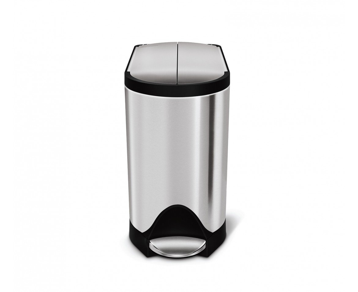 simplehuman 10 Liter/2.6 Gallon Butterfly Lid Bathroom Step Trash Can, Brushed Stainless Steel