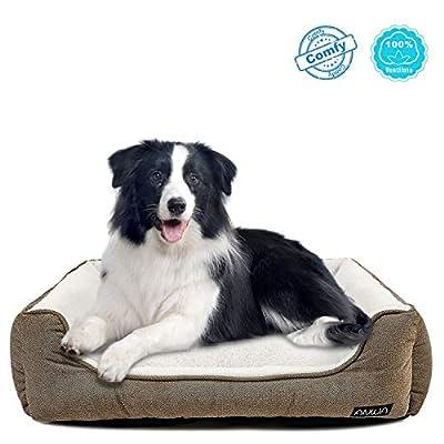 ANWA Durable Dog Bed Machine Washable Medium Dog Bed Square, Comfortable Puppy Dog Bed Medium