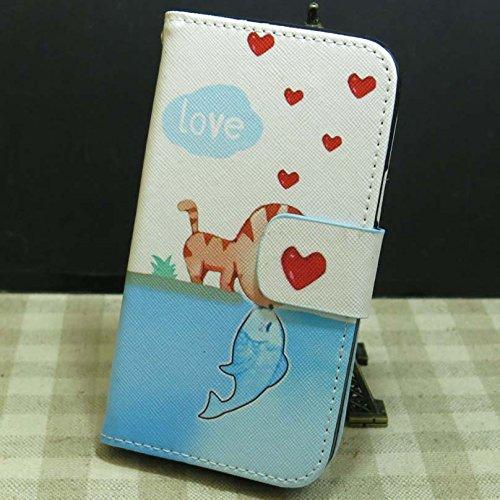 Don't Touch My Phone OWL Rose Flower Cat Love Fish Wallet Stander Flip case cover for Nokia Lumia 920 (Cat Kiss Fish) (Cover For Nokia Lumia 920)