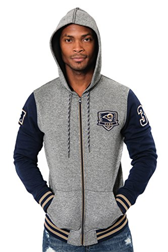 NFL Men's Los Angeles Rams Full Zip Fleece Hoodie Letterman Varsity Jacket, Medium, Navy