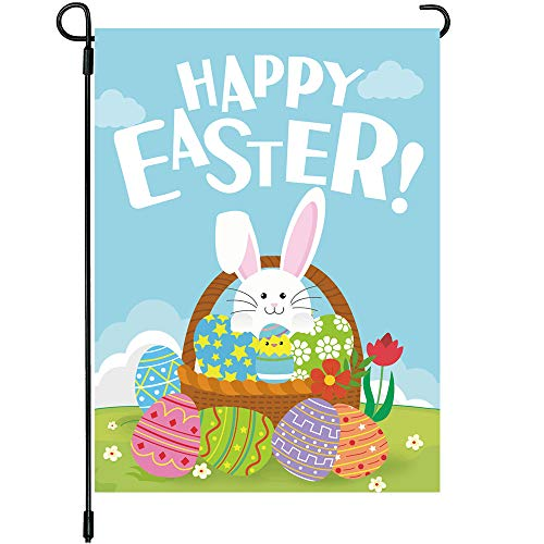 MIDOLO Happy Easter Day Garden House Flags Double Sided 12 x 18 Inch Easter Bunny Rabbit Cute Egg Decorative Outdoor Yard & Home Decorations