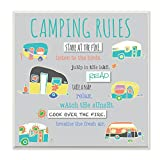 Stupell Home Décor Camping Rules Typog and Icons Wall Plaque Art, 12 x 0.5 x 12, Proudly Made in USA
