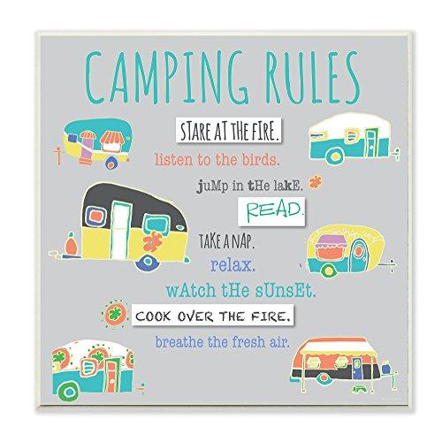 The Stupell Collection Camping Rules Typography And Icons Wall Plaque made our list of Inspirational And Funny Camping Quotes