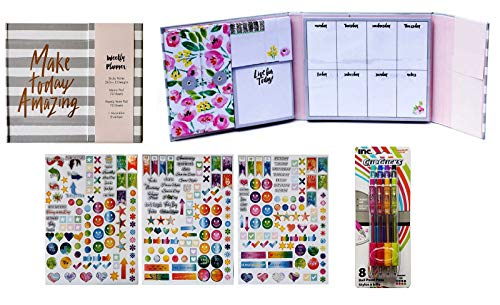 (Weekly Planner Kit | Make Today Amazing Multi-Use Tri-Fold Planner, Pack of 300 Planner Stickers, and Pack of 8 Assorted Colored Ball Point Pens)
