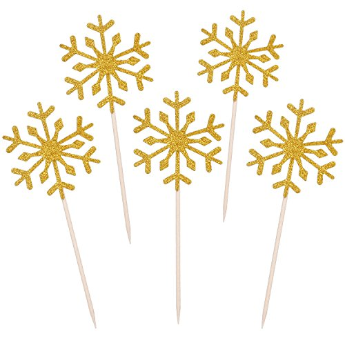TOODOO 60 Pack Snowflake Cupcake Toppers Glitter Snowflake Cake Topper Picks for Christmas Birthday Party Baby Shower Wedding Cake Decoration (Gold)