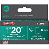Arrow Fastener 208 Genuine T20 1/2-Inch Staples, 1,000-Pack
