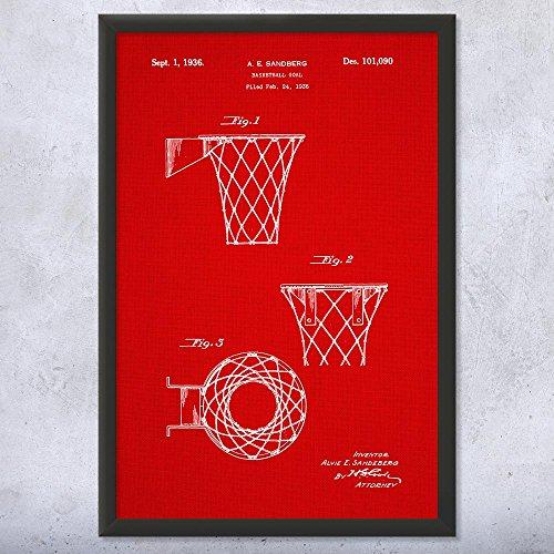 Framed Basketball Goal Print, Basketball Hoop, Gym Teacher, Coach Gift, NBA, Basketball Player, Athletic Sports Red Fabric (9