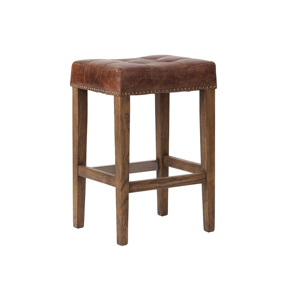 Ash Counter Stool in Vintage Brown Leather
