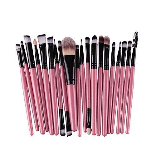 AMarkUp 20 Pcs Pro Makeup Brush Set Powder Foundation Eyeshaow Eyeliner Lip Conclear Cosmetics Blending Brushes (Pink+Black)