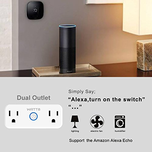 WATT8 Mini Wi-Fi Smart Plug, Dual Outlet, Works with Amazon Alexa and Google Assistant, No Hub Required, Control Your Appliances by Smart Phone and voice With Timing Function From Anywhere by WATT8 (Image #2)