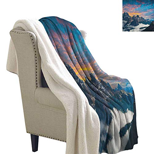Suchashome Mountain Digital Printing Blanket Alpine Scenery Foggy Italian Natural Park Vivid Sky Above Clouds Photography Blanket Small Quilt 60x47 Inch Black White ()
