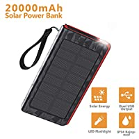 AMAES Solar Charger, Portable Power Bank...