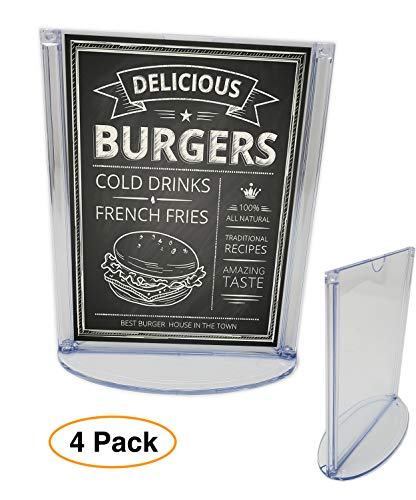 Tent Style Sign Holder - 4 x 6 Sign Holder for Tabletop, (4 Pack) T-Style Restaurant Menu or Photo/Picture Table Tent Display with Oval Base, Clear Plastic