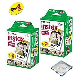 Fujifilm INSTAX Mini Instant Film 4 Pack 40 SHEETS (White) For Fujifilm Mini 8 Cameras … …