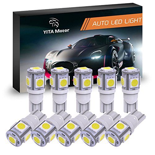YITAMOTOR 194 168 T10 2825 5SMD LED Bulbs Car Dome Map License Plate Lights Lamp White 12V (Pack of 10)