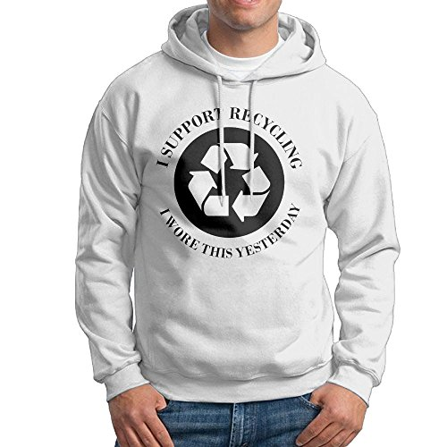 Obachi I Support Recycling I Wore This Yesterday Mens Long Sleeve Pullover Hooded Sweatshirt White Size L
