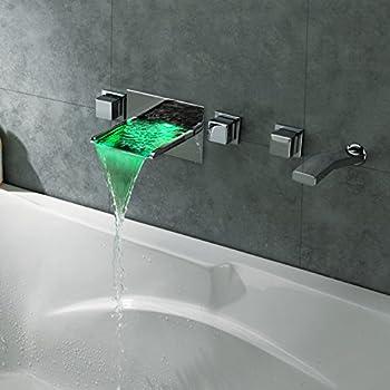Lovedima Modern Wall Mount Bathroom Led Waterfall Roman