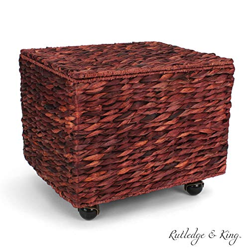 Seagrass Rolling File Cabinet - Home Filing Cabinet - Hanging File Organizer - Home and Office Wicker File Cabinet - Water Hyacinth Storage Basket for File Storage (Russet - Organizer Filler Cabinet